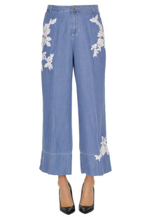 Lace inserts denim style trousers Ermanno by Ermanno Scervino
