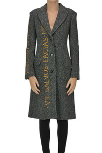 Herringbone coat with embroidery Moschino Couture