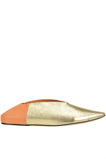 Metallic effect crakle leather slippers Majorelle