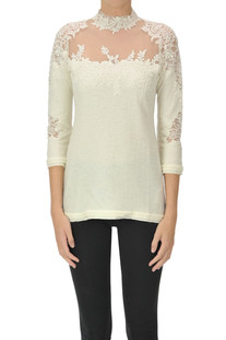 Lace and tulle inserts pullover Ermanno Scervino