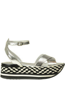 Metallic effect crakle leather sandals Hogan