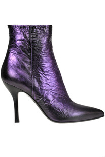 Metallic effect crackle leather ankle boots Strategia