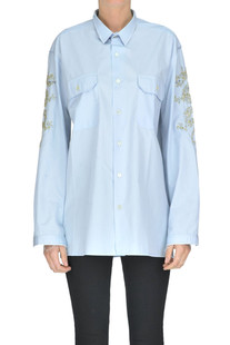 Embellished cotton shirt Peacock Blue