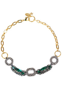 Strass and stone and brass chain necklace Radà