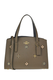Embellished grainy leather tote bag  Coach