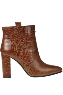 Crocodile print leather ankle boots Via Roma 15