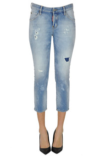 Used effect cropped jeans Dsquared2
