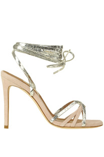 Metallic effect leather and suede sandals Paris Texas