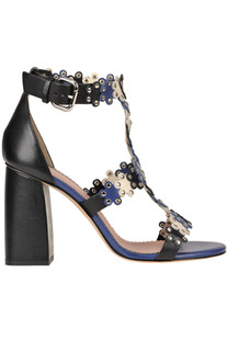 Studded leather flowers sandals RED Valentino