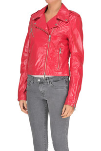 Brushed leather biker jacket Sira