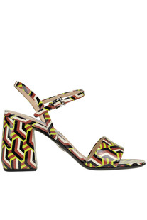 Optical print patent-leather sandals Prada