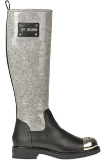 Coated cloth and leather boots Love Moschino