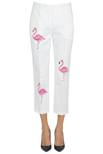 Painted flamingos trousers The Editor