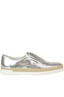 Metallic efftect leather slip-on shoes Tod's