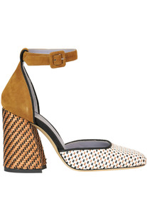 Suede and woven rafia pumps G Di G