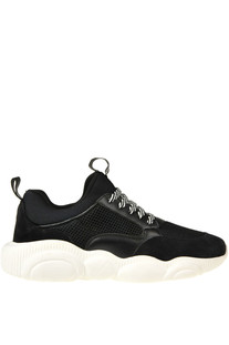 Suede and techno fabric sneakers Moschino Couture
