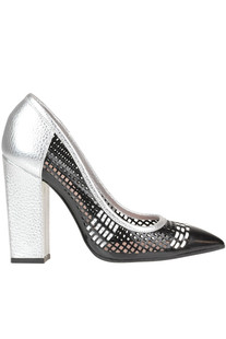 Cut-out leather pumps Pollini