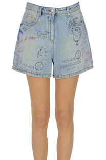 Printed denim shorts MSGM