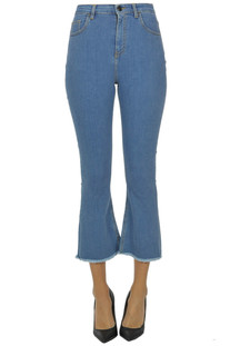 Flared leg cropped jeans Semicouture