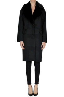 Eco-fur collar coat Moschino Couture