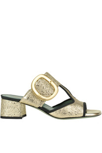 Metallic effect leather mules Paola D'Arcano