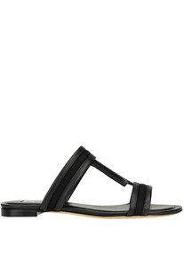 Leather and canvas T slides Tod's