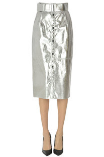 Metallic effect eco-leather pencil skirt MSGM