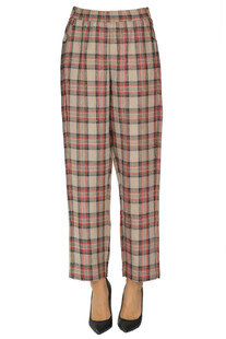 Checked print linen trousers 8PM