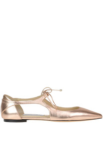 'Vanessa' metallic effect leather ballerinas Jimmy Choo