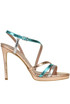 Metallic effect reptile print leather sandals  Gianna Meliani