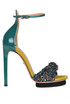 Leather and bouclè fabric sandals Elisabetta Franchi