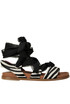 Self-tie crepè laces haircalf sandals 181