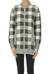 Checked print zippered cardigan Anneclaire