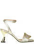 Metallic effect leather sandals Pollini