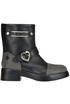 Studded leather biker boots Love Moschino