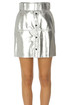 Metallic effect eco-leather mini skirt MSGM