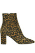 Stivali tronchetti Lou 75 in suede animalier Saint Laurent