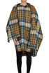 Checked print cape style coat Dondup