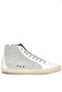 Textured leather high-top sneakers P448