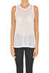 Cut-out cotton fabric tank-top N.21