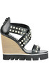 Studded leather wedge sandals O.X.S
