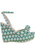 Printed fabric wedge sandals Agogoa Pin Up Stars