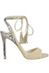 Suede and reptile print leather sandals Guess