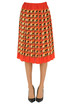 Pleated printed silk skirt Peach