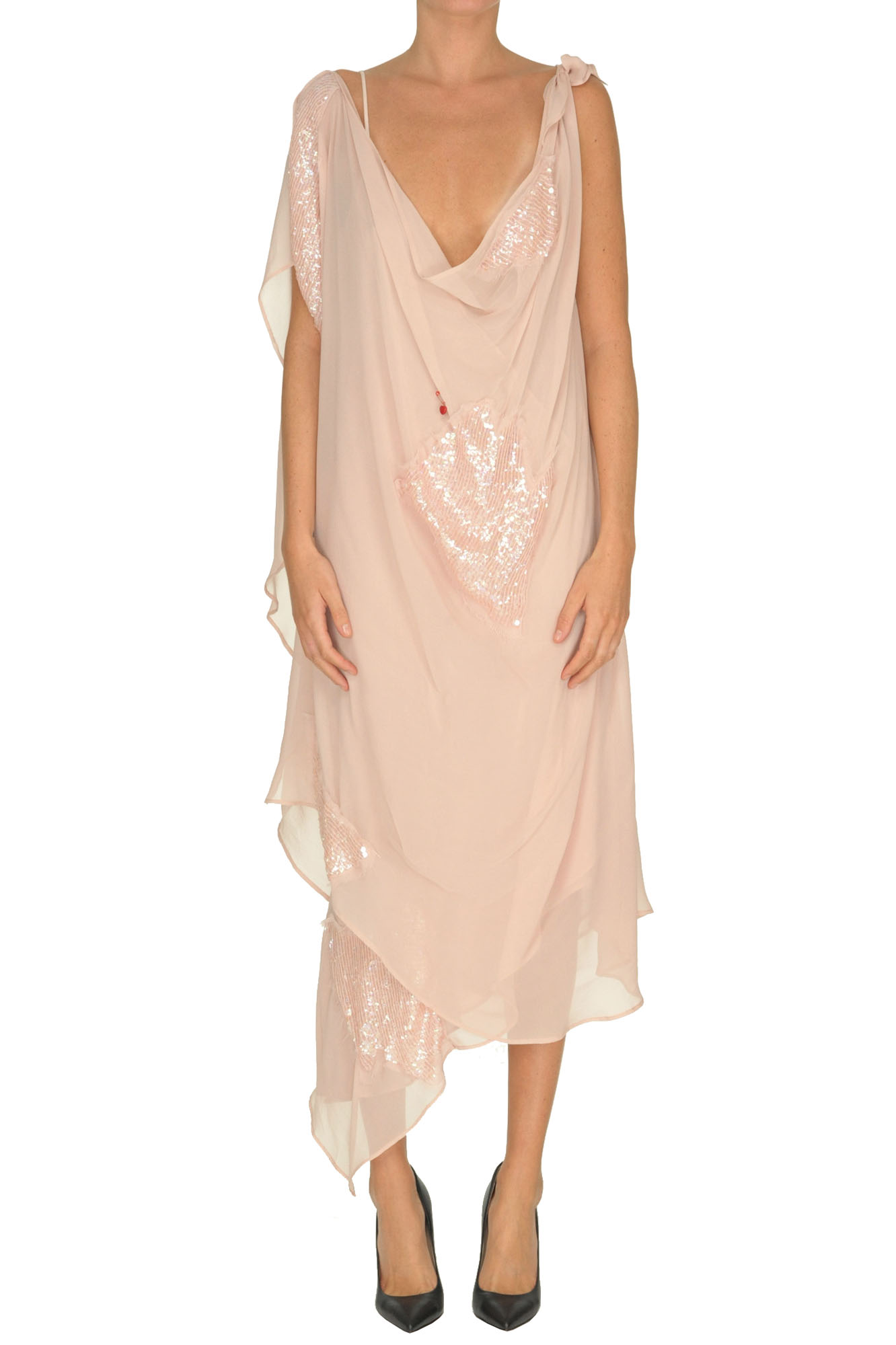 Giacobino Draped CrepÈ Dress In Neutrals