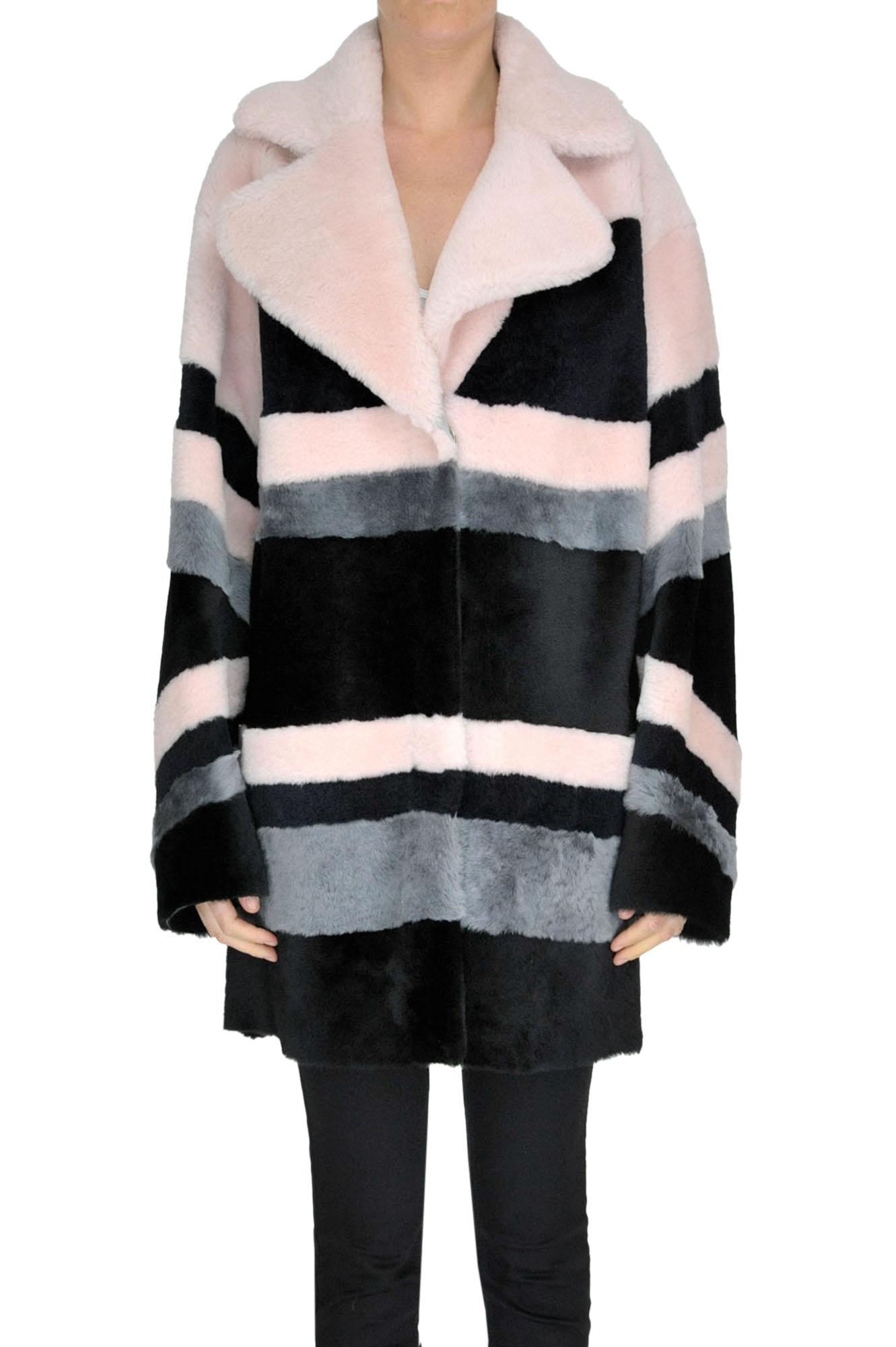 B&W Striped Reversible Shearling in Multicoloured