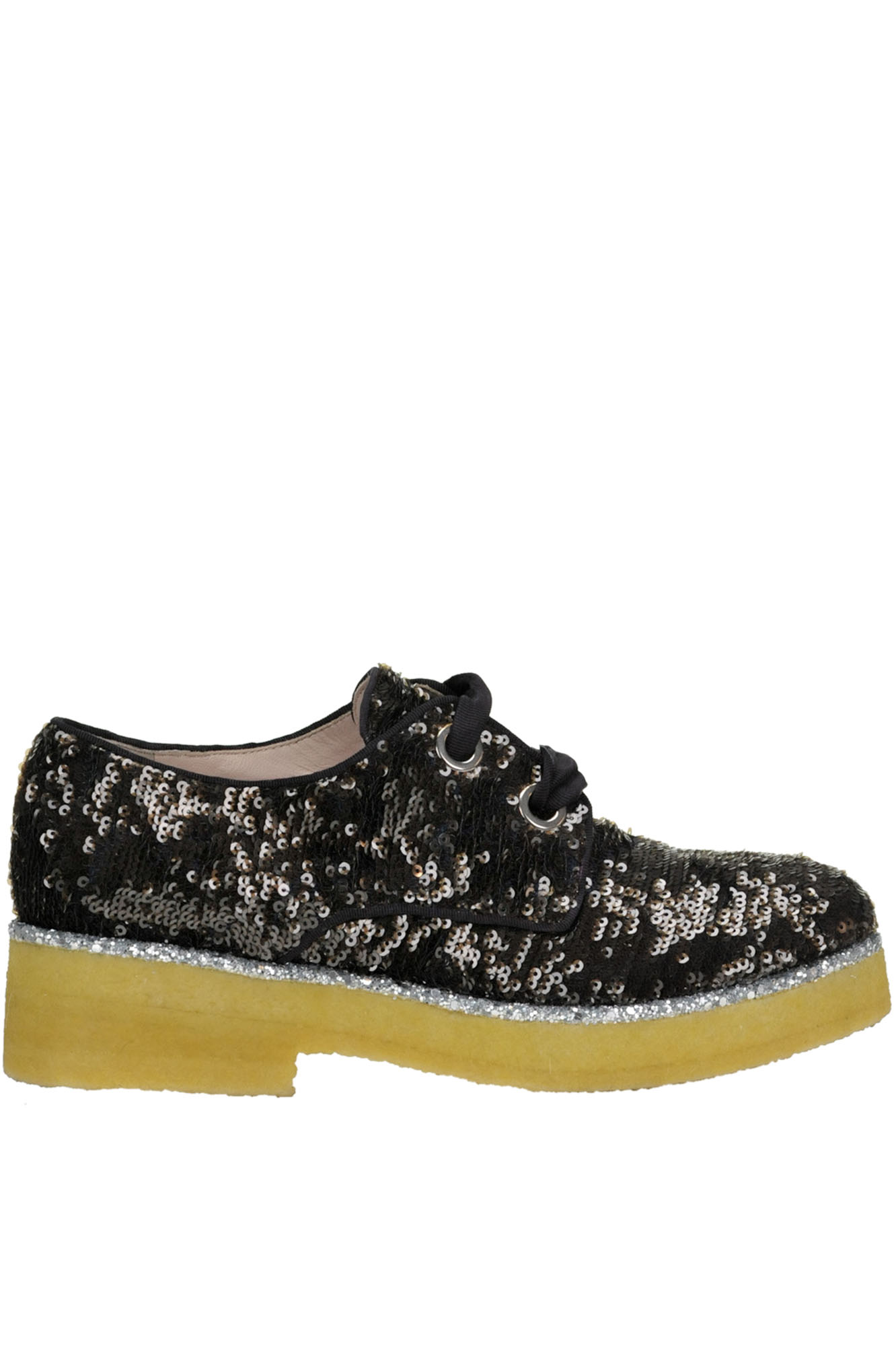 ALBERTO GOZZI Sequined Lace-Up Shoes in Dark Brown