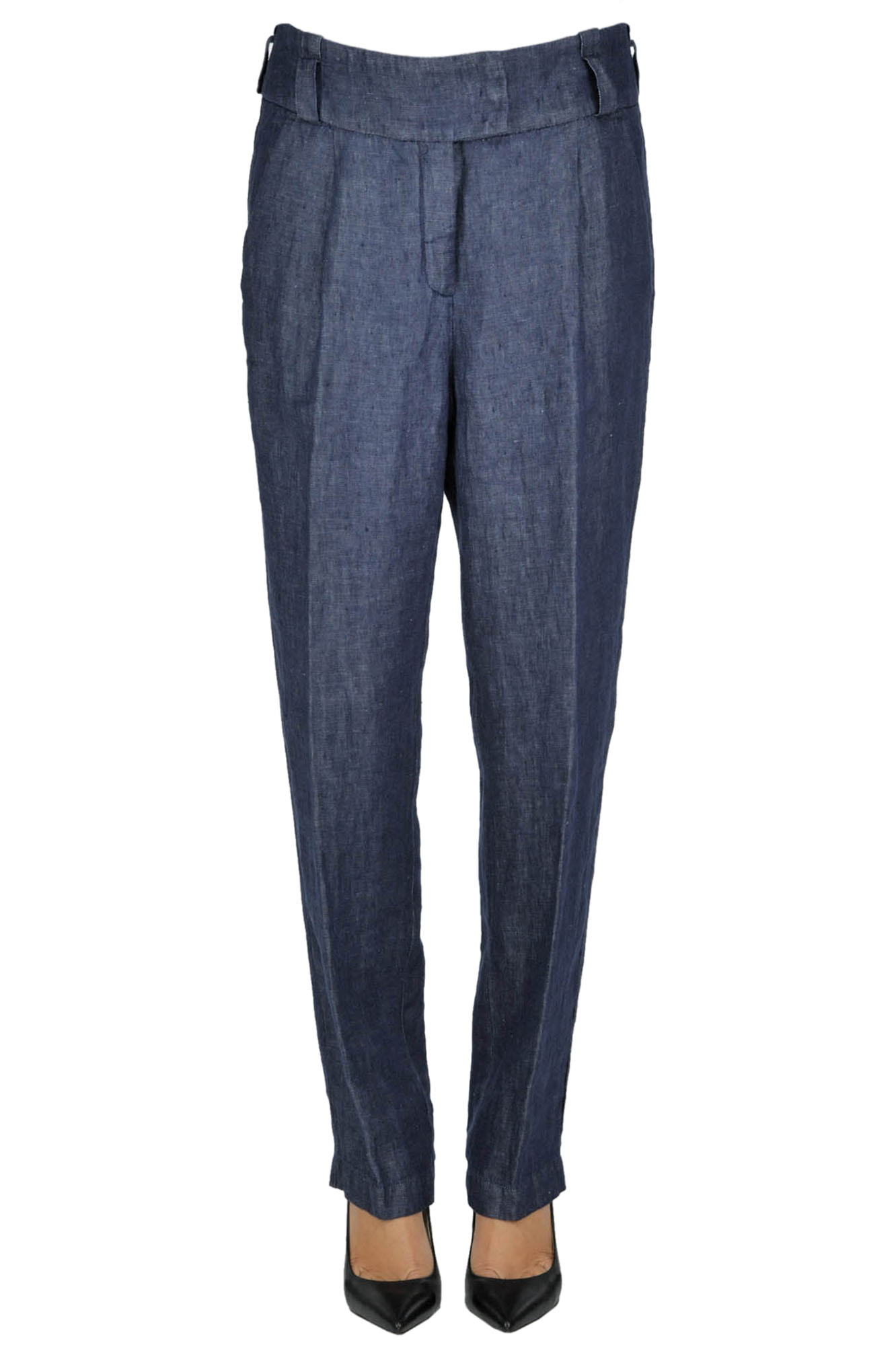 hot sales beautiful and charming price remains stable Denim style linen trousers