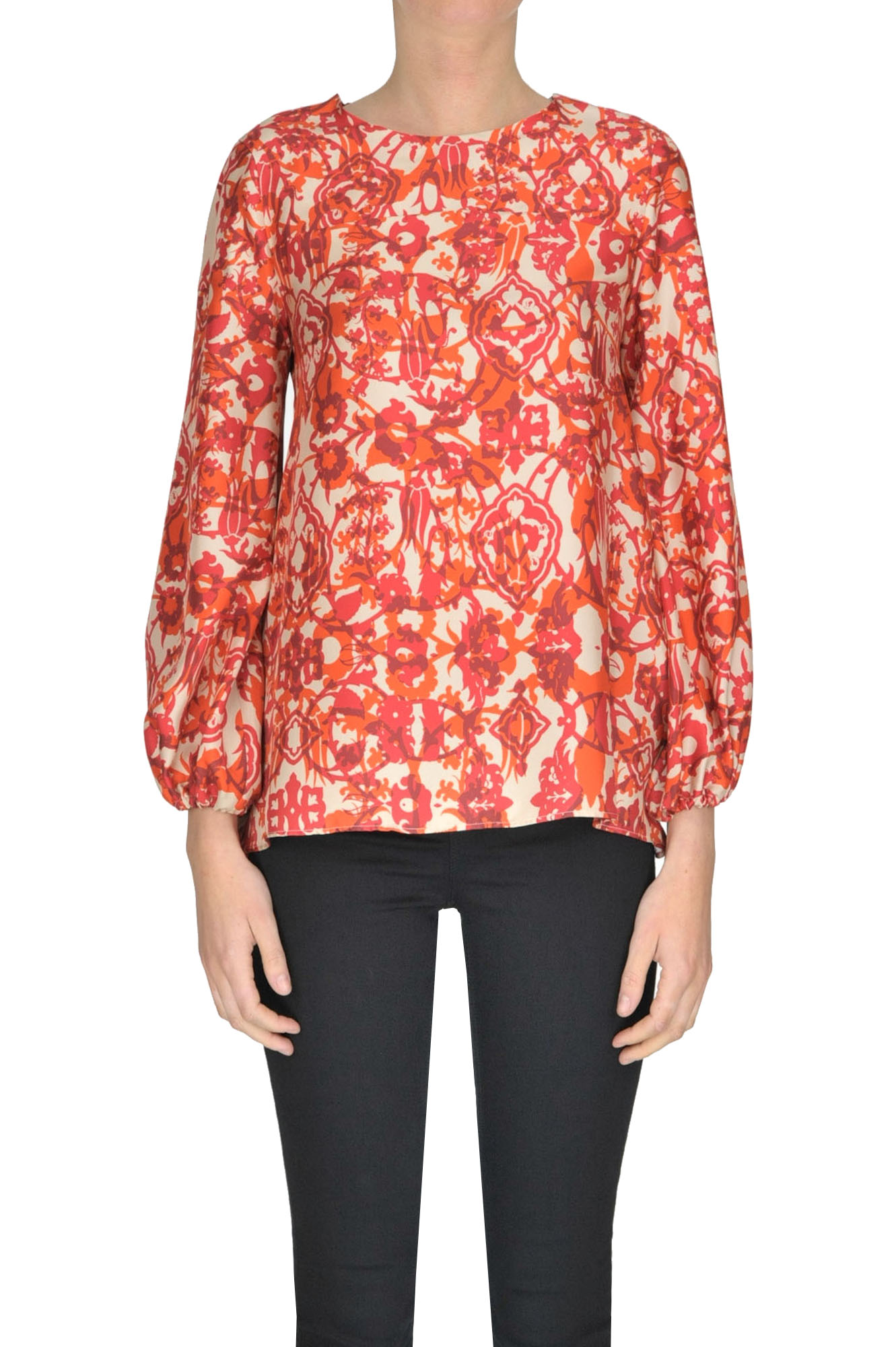 CALIBAN Printed Silk Blouse in Multicoloured