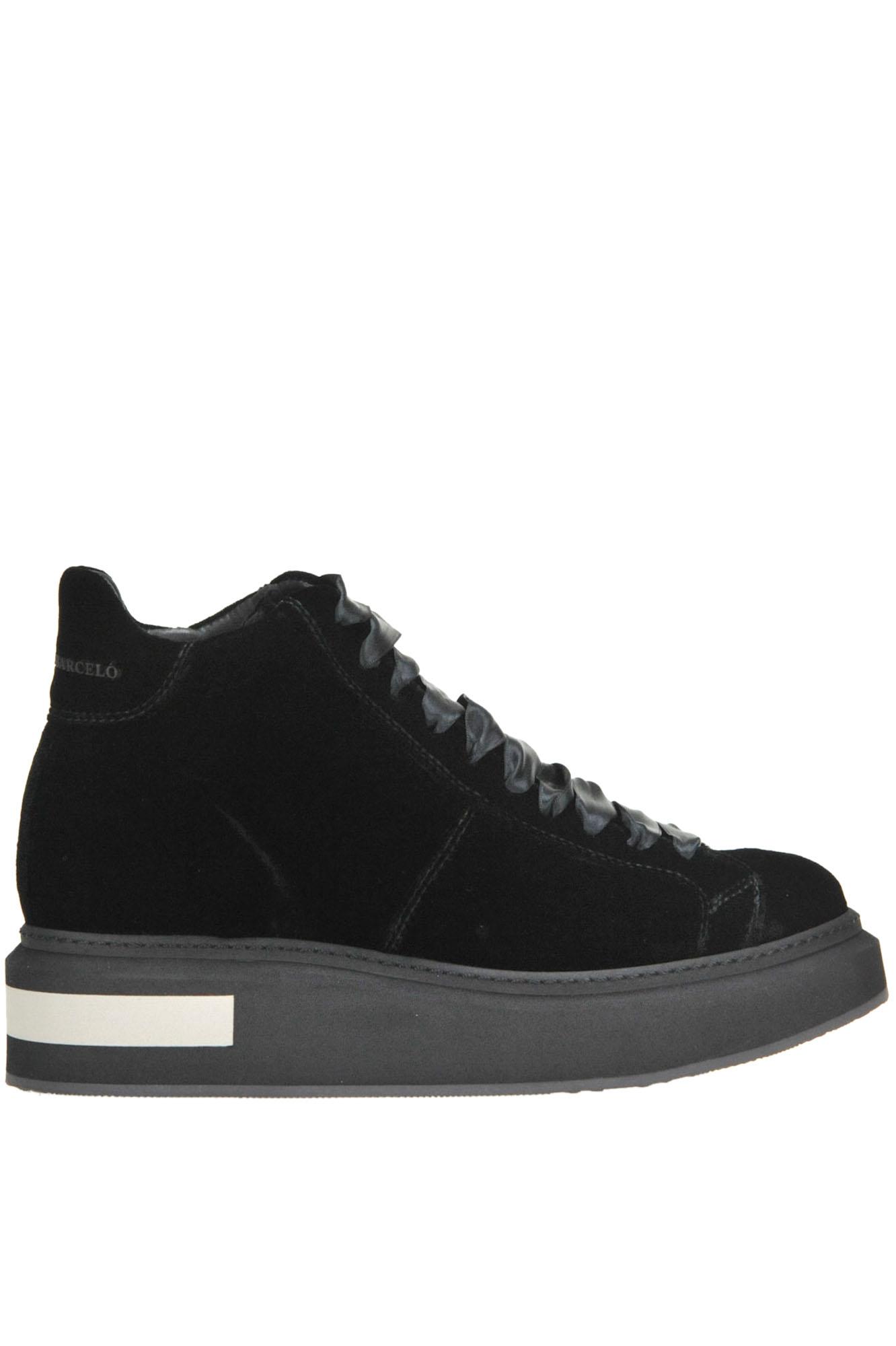 Mitte Round Velvet High-Top Sneakers in Black